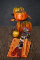 Herbstlich gedeckter Tisch mit Kürbis