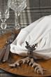 Herbstlich gedeckter Tisch mit Hirsch und Geweih