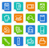Kitchen home appliances on stickers poster