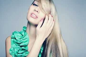 young woman with long blond hair, beautiful eyes
