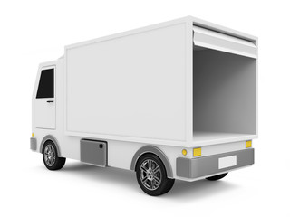 White Delivery Van on white background