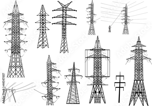 set of electrical pylons isolated on white