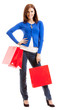 Cheerful woman with shopping bags, over white