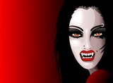 Vampire Girl's Portrait-Halloween-Ritratto Donna Vampiro-Vector