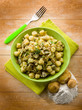 homemade gnocchi with artichoke,vegetarian food