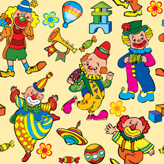Cartoon circus seamless pattern.