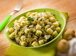 homemade gnocchi with artichoke, selective focus
