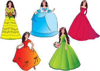 Princess in different dresses.