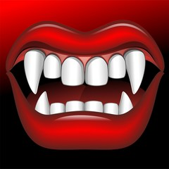 Vampire Mouth Fierce Halloween-Bocca di Vampiro Feroce-Vector