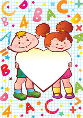 Children with heart, letters and numbers.
