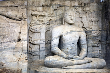 Statue of Lord Buddha in Gal Vihara at Polonnaruwa, Sri Lanka.