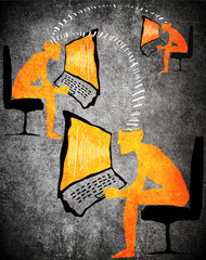 orange on black digital comunication concept