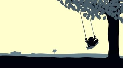 Schaukel mit Kind unter einem Baum