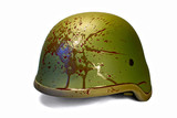 Military or police helmet with blood splattered. Isolated. Path.