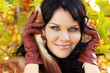 Beautiful brunette Girl face. lady smiling outdoor portrait. Per