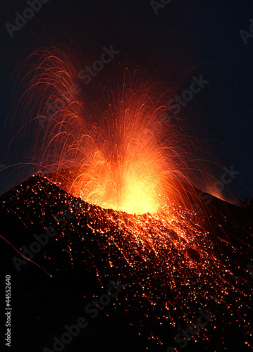 Volcano  crater with lava eruption