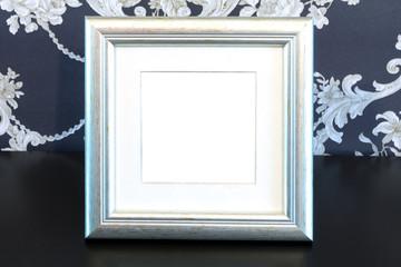 Silver Vintage picture frame on vintage background