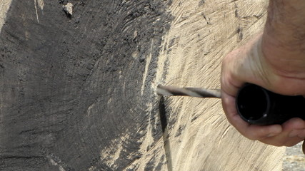 Дрель, обработка древесины