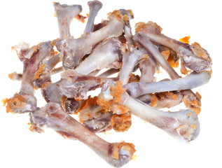 gnawed chicken bones