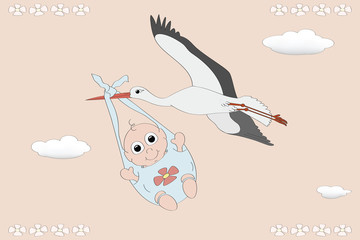 Flying stork with a newborn