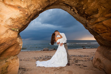 Wedding Romance - newlyweds kissing
