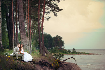 Wedding Romance - happy bride and groom