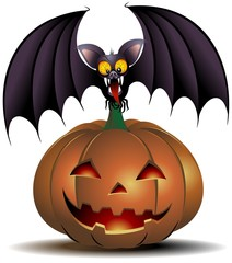 Cartoon Bat with Halloween Pumpkin-Pipistrello con Zucca-Vector