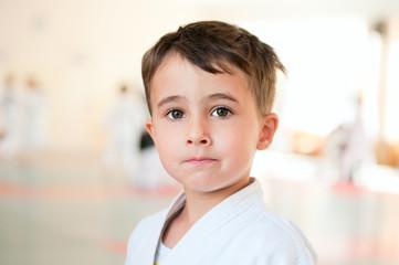 Portrait of karate boy training in sport hall