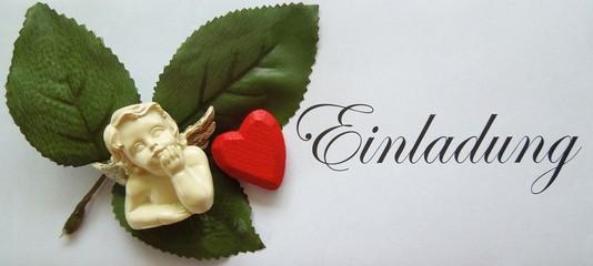 Einladung mit rotem Herz und Engel