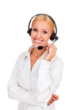 Happy woman with headset and smiling