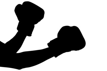 A silhouette of a boxing gloves