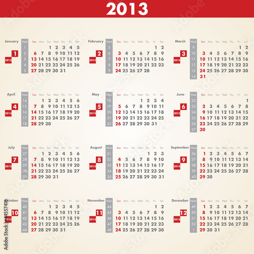 2013 Calendar vector, calendar with all weeks, days and months