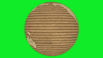 Corrugated Cardboard Earth rotating on green screen. Loopable.