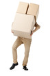 Man hardly carries the parcel, isolated, white background