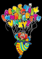 Clown with balloons in the form of the alphabet.