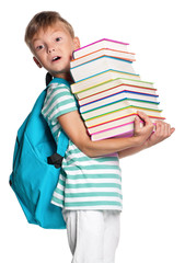 Little boy with books