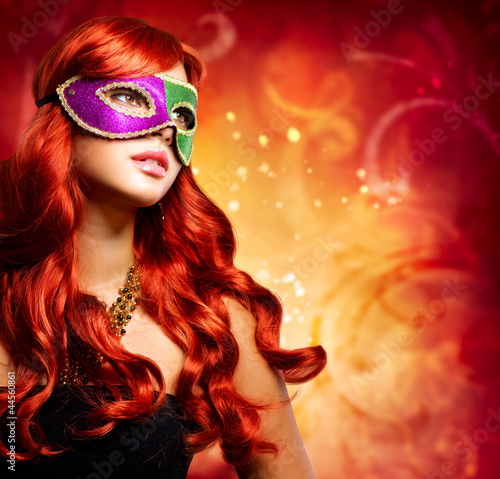 Beautiful Girl in a Carnival mask