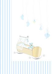 Babykarte mit Wiege