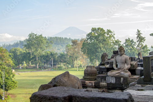 View on Merapi volcano from Borobudur temple