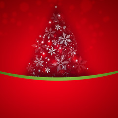 Stylized Christmas tree on decorative background with copyspace