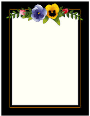 Picture Frame, copy space, Victorian style with pansies, roses