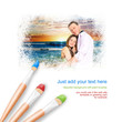 White background with three paintbrushes painting portrait of be