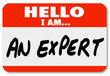Hello I Am an Expert Nametag Expertise Tag