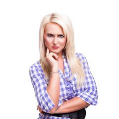 skeptische blonde Frau