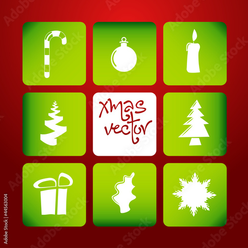 vector christmas poster made from icons