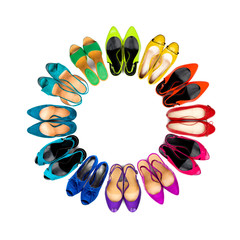 Multicolored female shoes frame-2