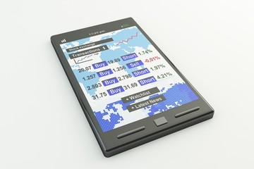 stock market application on smartphone
