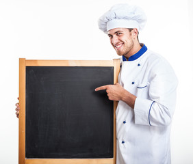 Chef holding an empty blackboard