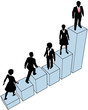 Business people climb stand on chart