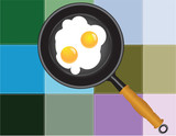 Colored squares paste with Scrambled eggs
